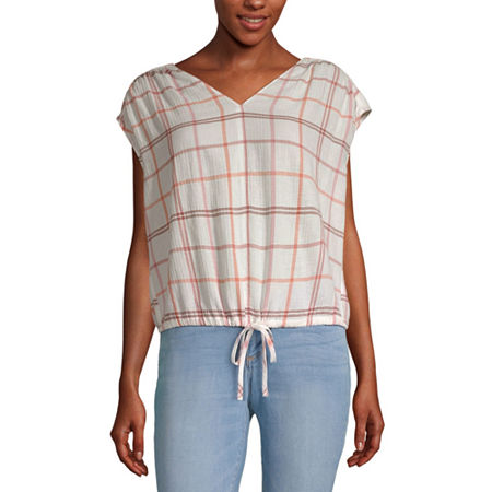 a.n.a Womens V Neck Sleeveless Blouse, Small , Pink