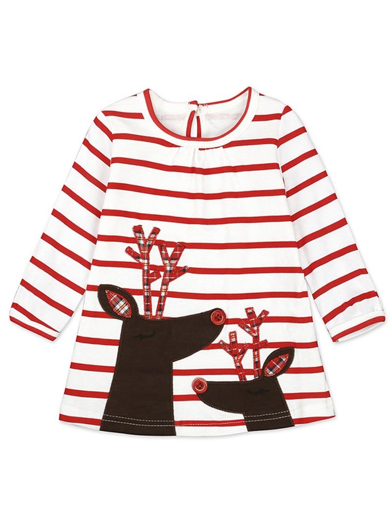 Ericdress Christmas Print Stripe Round Neck Girl's Dress