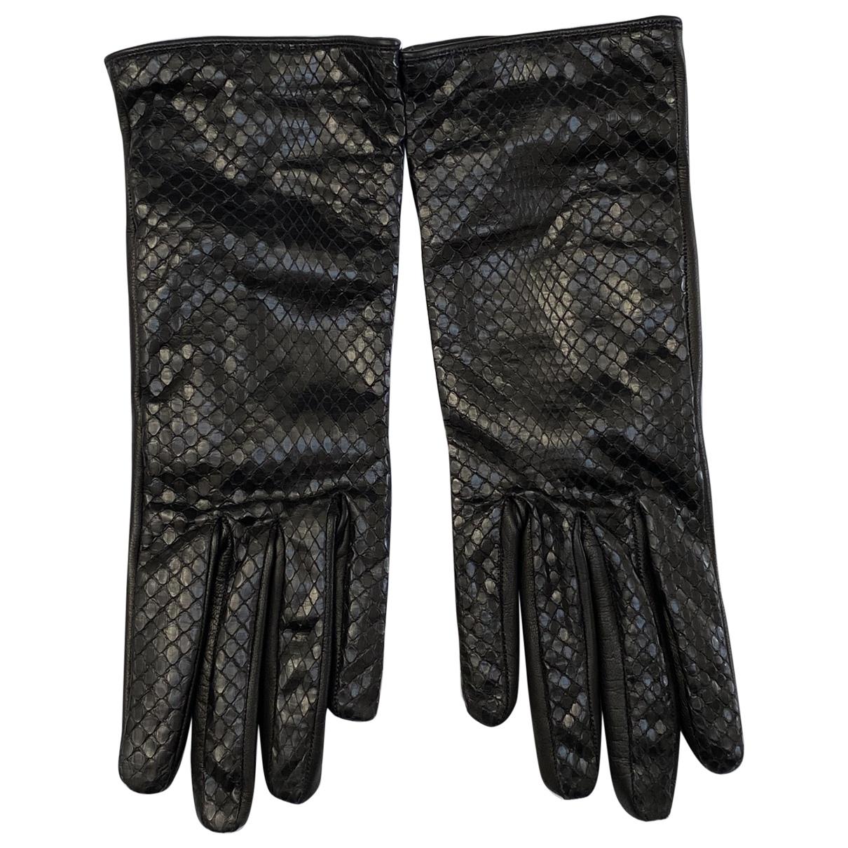 Yves Saint Laurent \N Black Python Gloves for Women 8 Inches