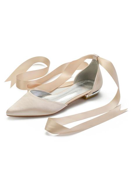 Milanoo Ivory Wedding Shoes Satin Pointed Toe Lace Up Flat Bridal Shoes Bridesmaid Shoes