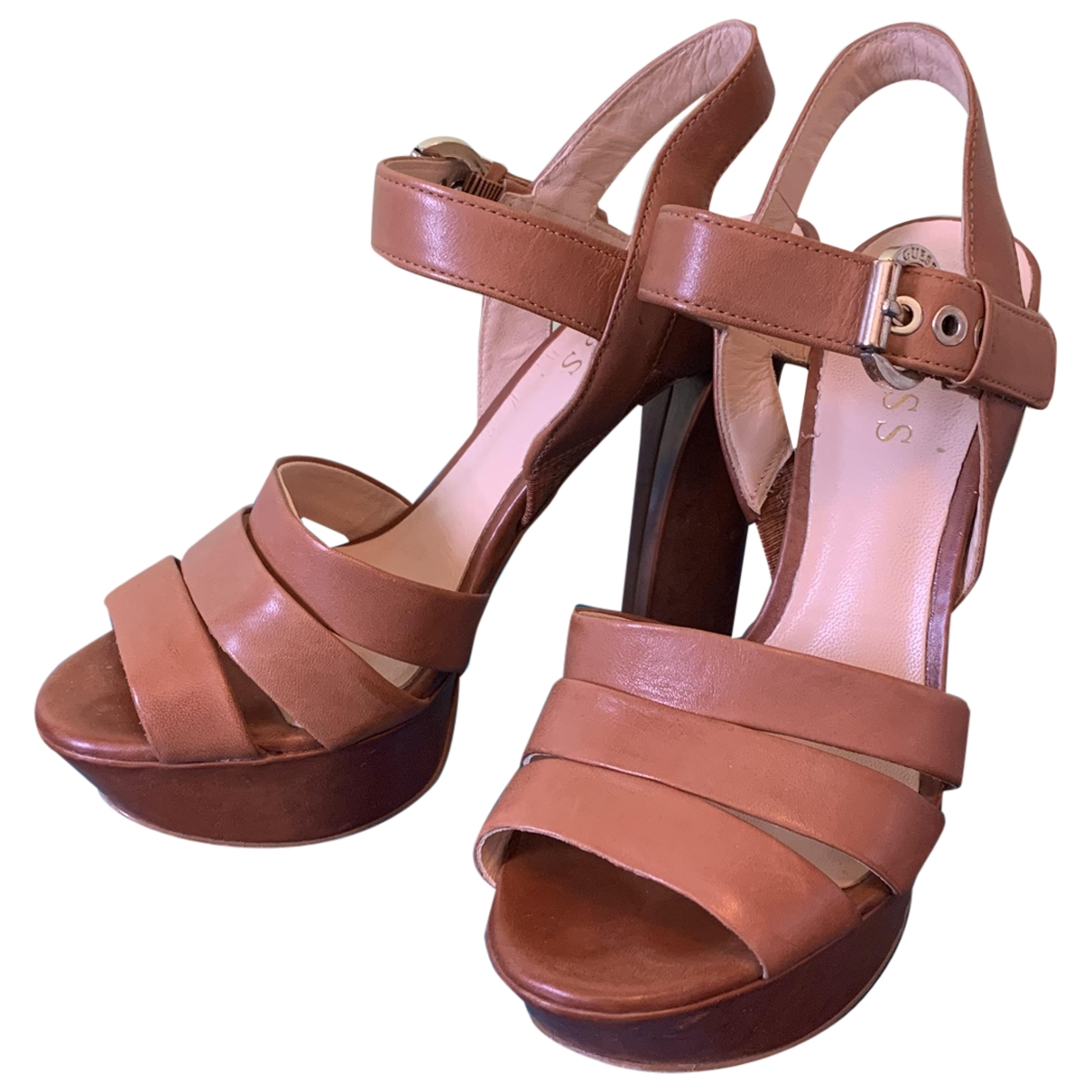 Guess \N Camel Leather Heels for Women 35 IT