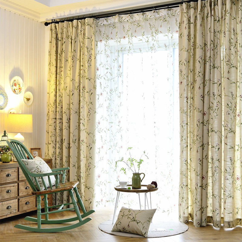 Plant Pattern Polyester Material Jacquard Technics Blackout Feature Curtain Sets