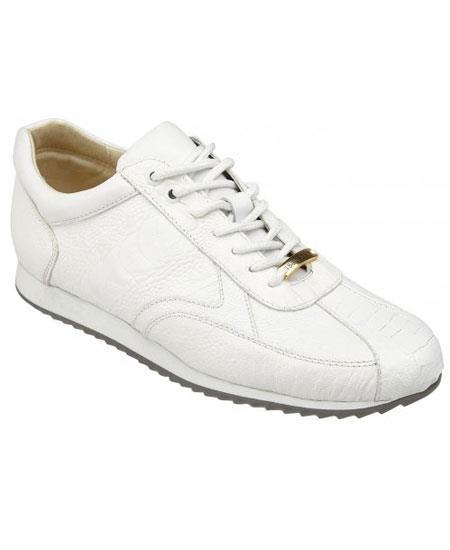 Men's White Genuine Ostrich Casual Leather Sneakers