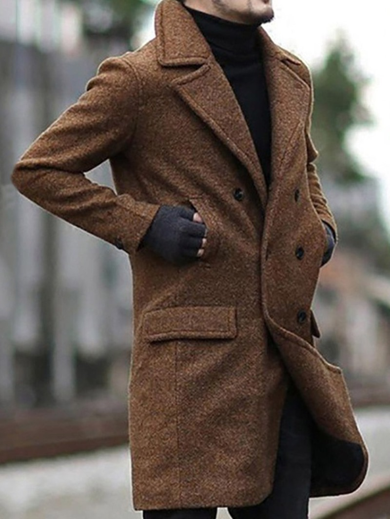 Ericdress Notched Lapel Plain Mid-Length Men's Slim Double-Breasted Coat