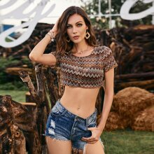 Button Front Tribal Print Crop Top