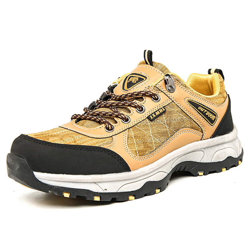 Men Canvas Splicing Breathable Outdoor Slip Resistant Hiking Shoes