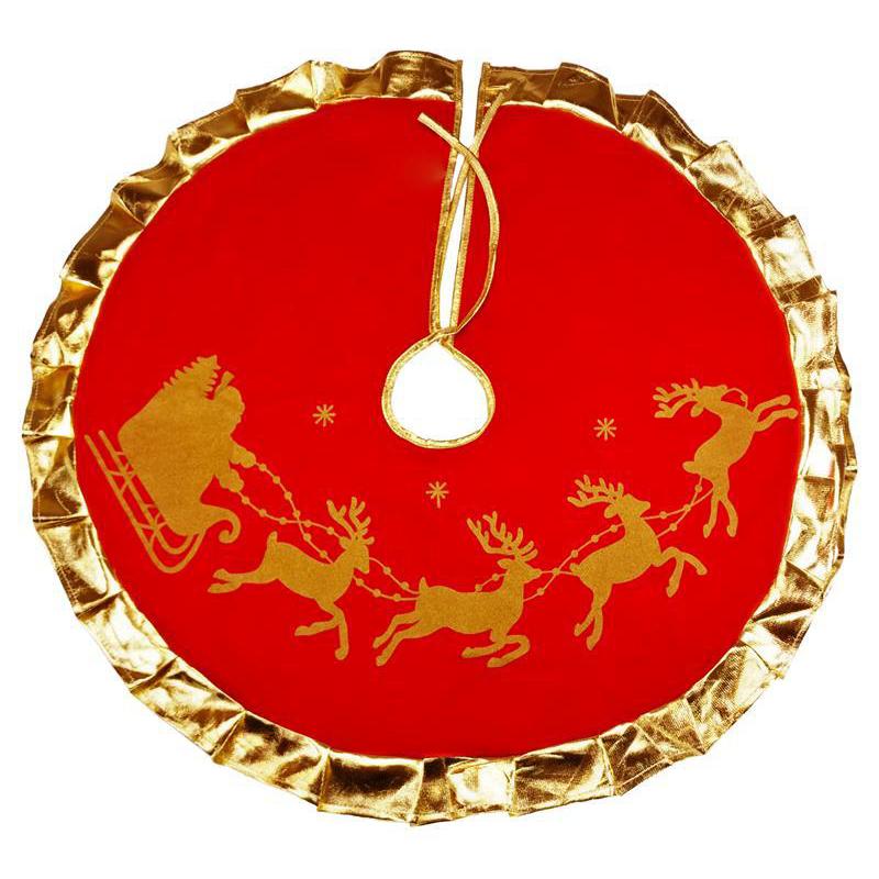 Gorgeous Red Golden Reindeer Curled Hemming Tree Skirt