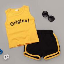Toddler Boys Letter Graphic Tank Top With Dolphin Shorts