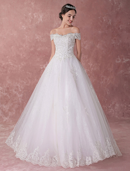 Milanoo Princess Ball Gown Wedding Dresses Lace Off The Shoulder Beading Ivory Luxury Bridal Dress