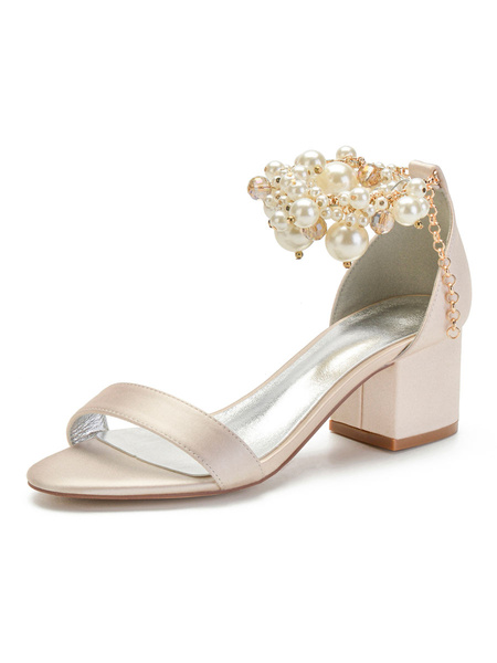 Milanoo Wedding Shoes Champagne Satin Pearls Pointed Toe Stiletto Heel Bridal Shoes