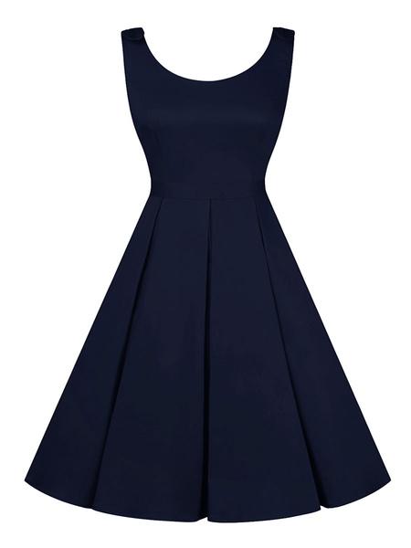 Milanoo Vintage Dress 1950s Sleeveless U Neck Women Swing Dress