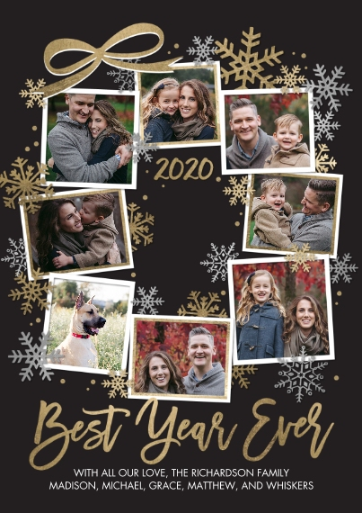 Christmas Photo Cards 5x7 Cards, Premium Cardstock 120lb with Rounded Corners, Card & Stationery -2020 Best Year Snowflakes by Tumbalina