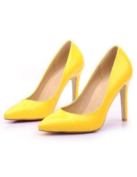 Milanoo Yellow High Heels Pointed Toe Women's PU Slip On Stiletto Heel Pumps Shoes