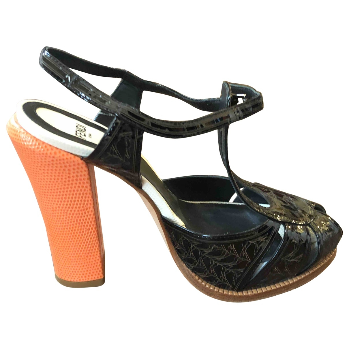 Fendi \N Brown Patent leather Sandals for Women 35 EU