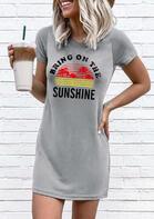 Bring On The Sunshine Mini Dress - Gray