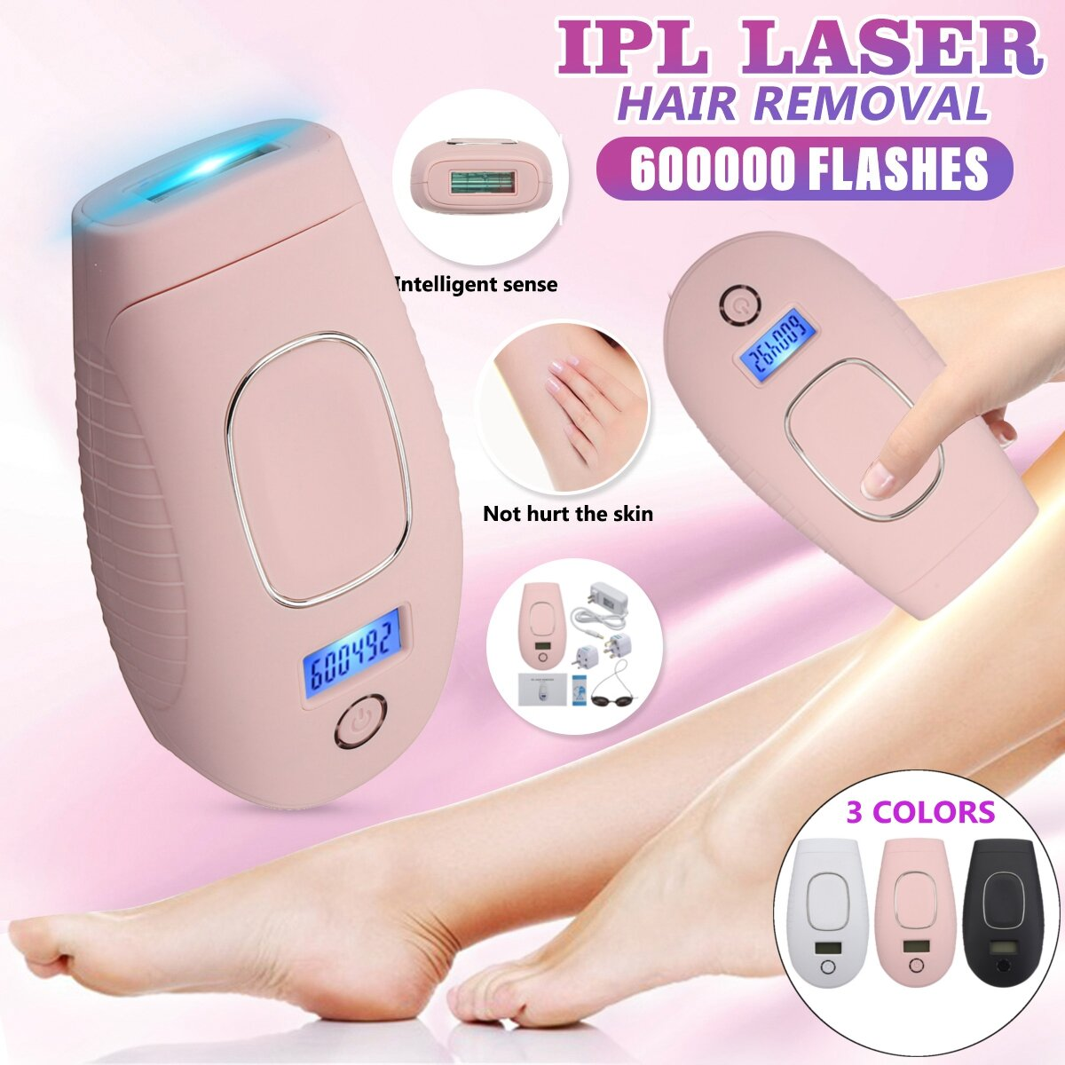 600000 Flashes 5 Levels Women Hair Removal System IPL Permanent Painless Laser Hair Removal Machine
