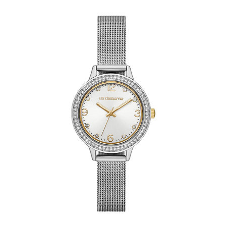 Liz Claiborne Womens Crystal Accent Silver Tone Stainless Steel Bracelet Watch-Lc1384t, One Size , No Color Family