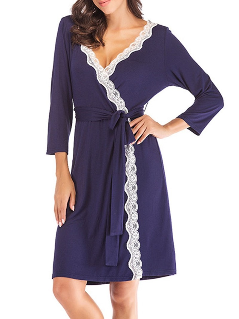 Ericdress Lace-Up Single Color Block Regular Loose Night-Robes