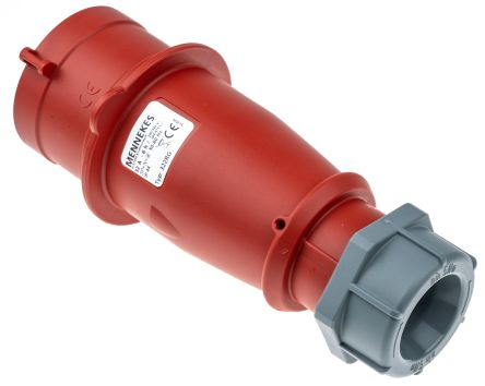 MENNEKES IP44 Red Cable Mount 5P Industrial Power Plug, Rated At 32.0A, 400 V,With Phase Inverter