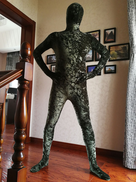 Milanoo Dark Green Zentai Suit Adults Morph Suit Full Body Velour Bodysuit