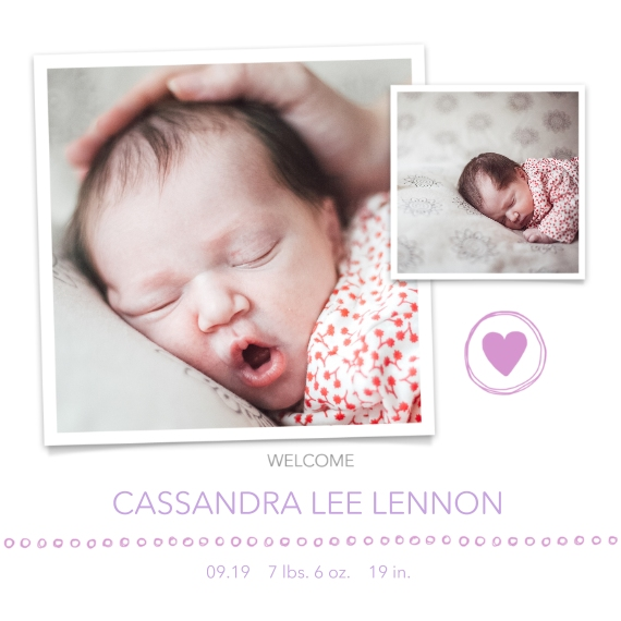 Newborn 5x5 Flat Card Set, 85lb, Card & Stationery -Welcome, Girl by Well Wishes