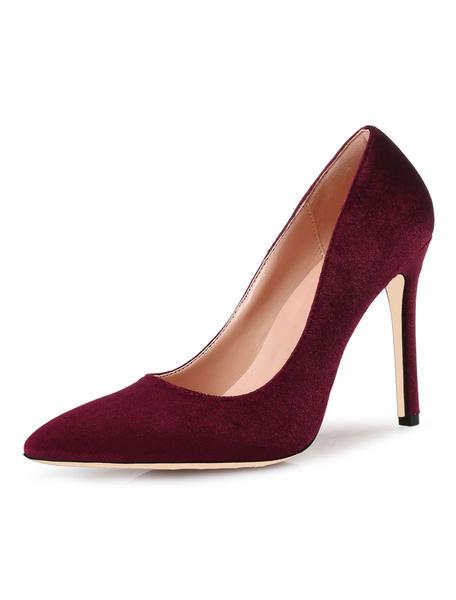 Milanoo Royal Blue High Heels Velvet Pointed Toe Stiletto Heel Slip On Pumps Women Shoes
