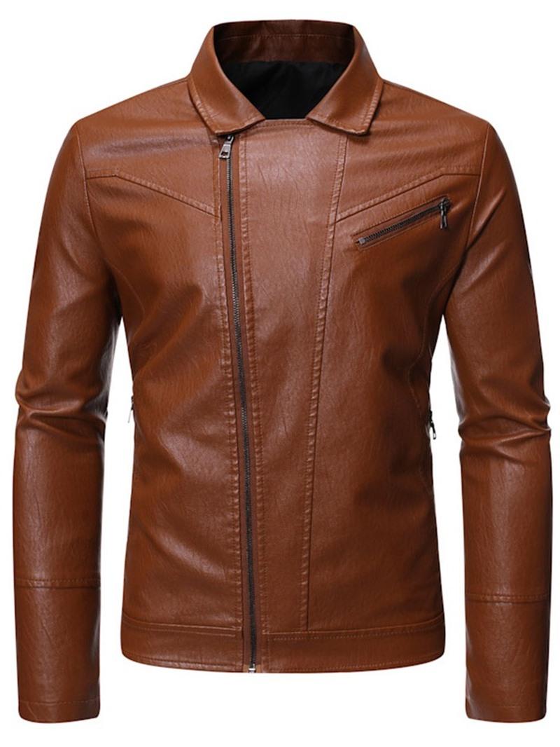 Ericdress Zipper Lapel Plain Casual Men's Jacket