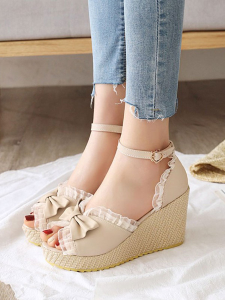 Milanoo Sweet Lolita Sandals Bows Round Toe Wedge Lolita Summer Shoes
