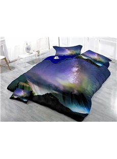 Galaxy and Mountain Wear-resistant Breathable High Quality 60s Cotton 4-Piece 3D Bedding Sets