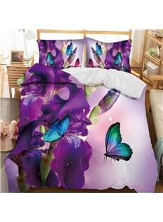 Blue Butterflies On Purple Flowers Printed 3-Piece Comforter Sets