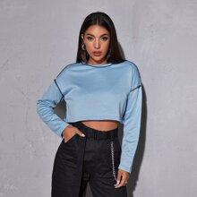 Contrast Stitch Crop Sweatshirt