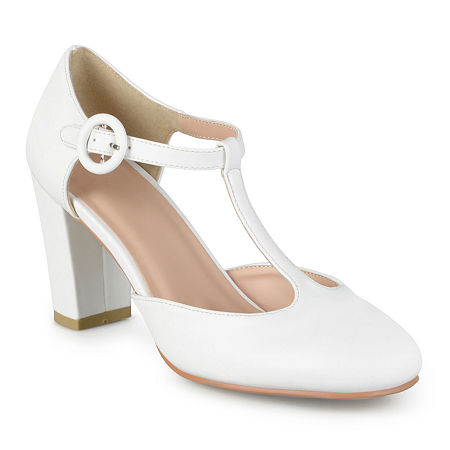 Journee Collection Womens Talie T-Strap Pumps, 9 Medium, White
