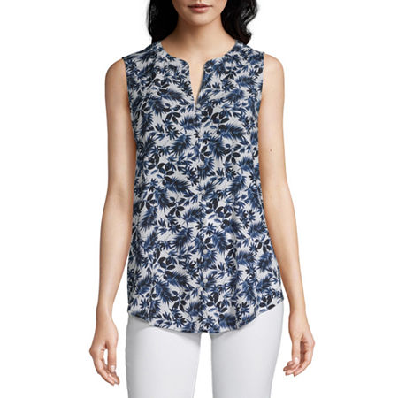 Liz Claiborne Womens Sleeveless Button-Down Shirt, X-large , White