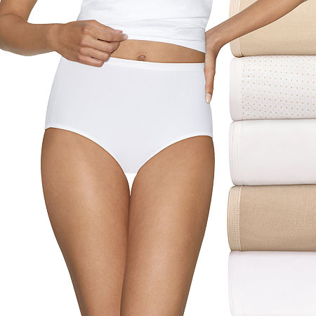 Hanes Ultimate Cool Comfort Cotton Ultra Soft 5 Pack Knit Brief Panty 40hucc, 10 , Beige