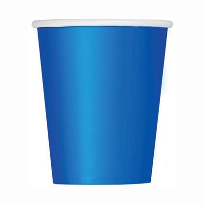 Tasses de papier de Bleu royal solide 9oz 8Pcs