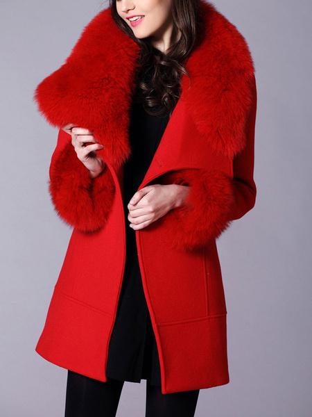 Milanoo Coat For Woman Faux Fur Retro Black Woolen Coat