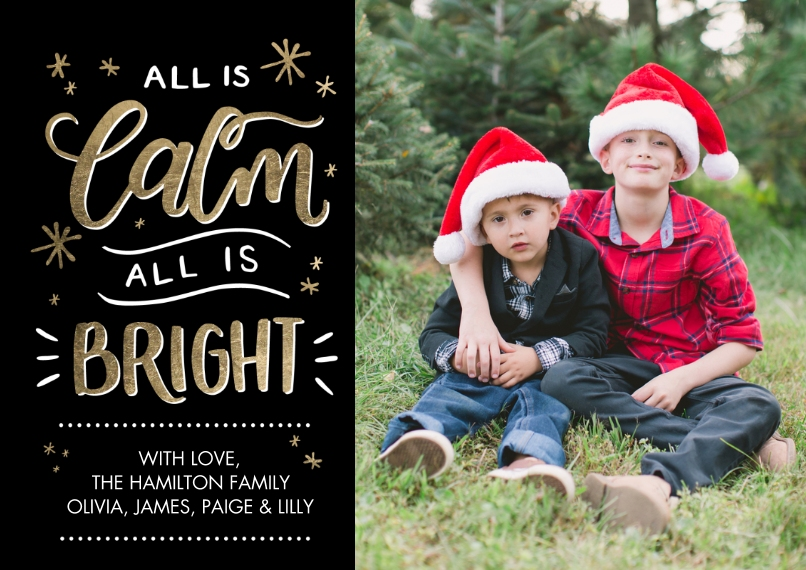 Christmas Photo Cards 5x7 Cards, Premium Cardstock 120lb with Rounded Corners, Card & Stationery -Christmas Calm and Bright by Tumbalina