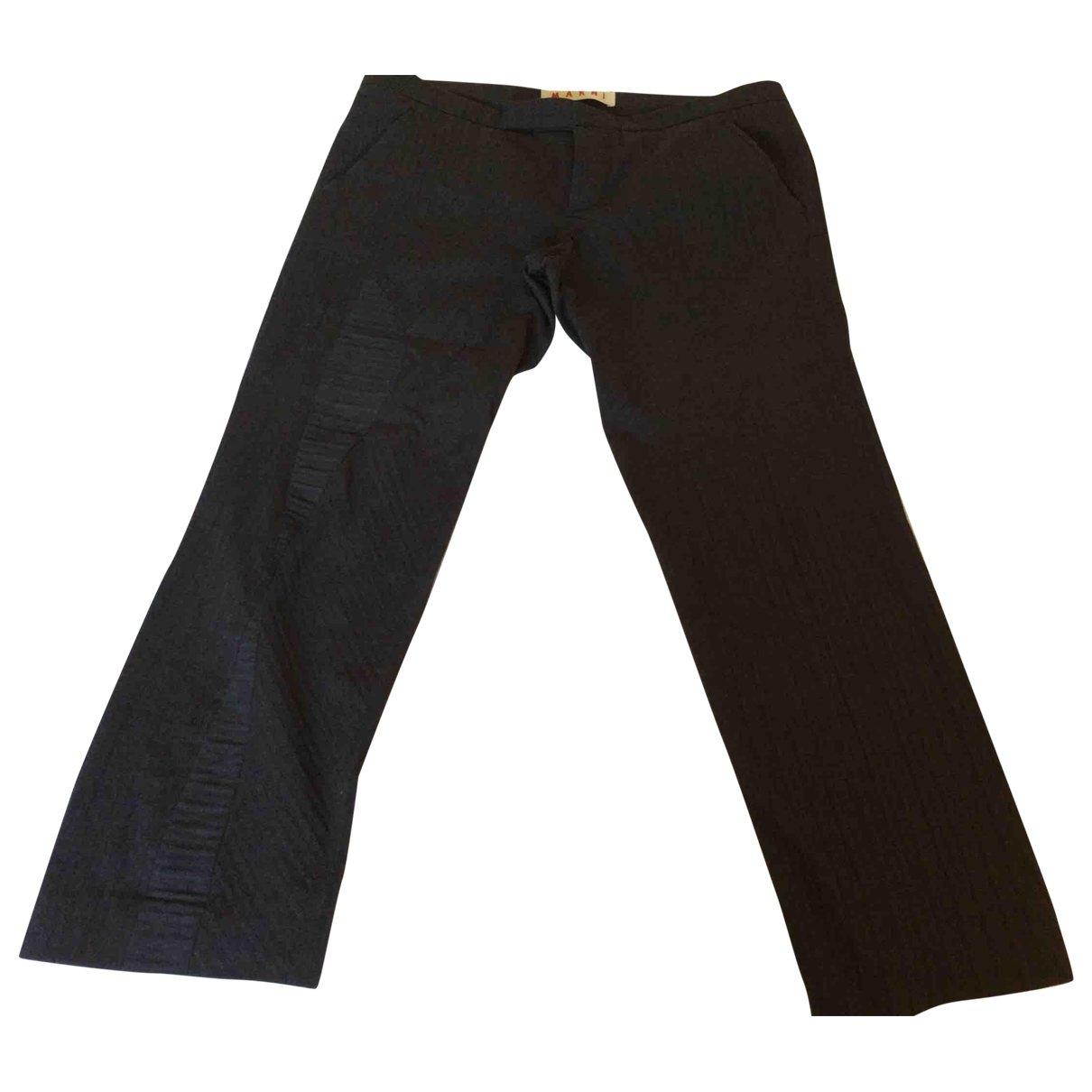 Marni \N Grey Wool Trousers for Women 46 IT