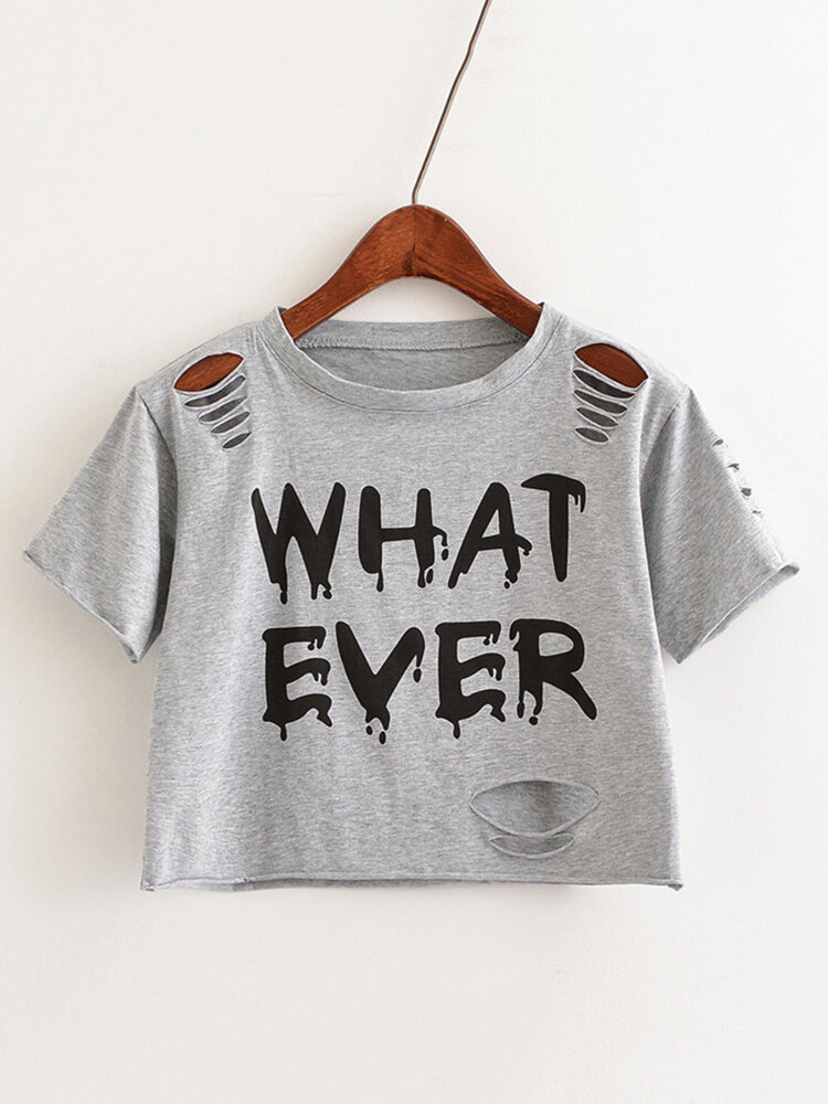 Letters Printed Hollow Hole Short Sleeve Crop T-Shirts