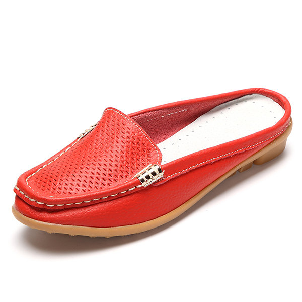 Casual Hollow Out Breathable Open Heel Slip On Lazy Shoes Flat Loafers