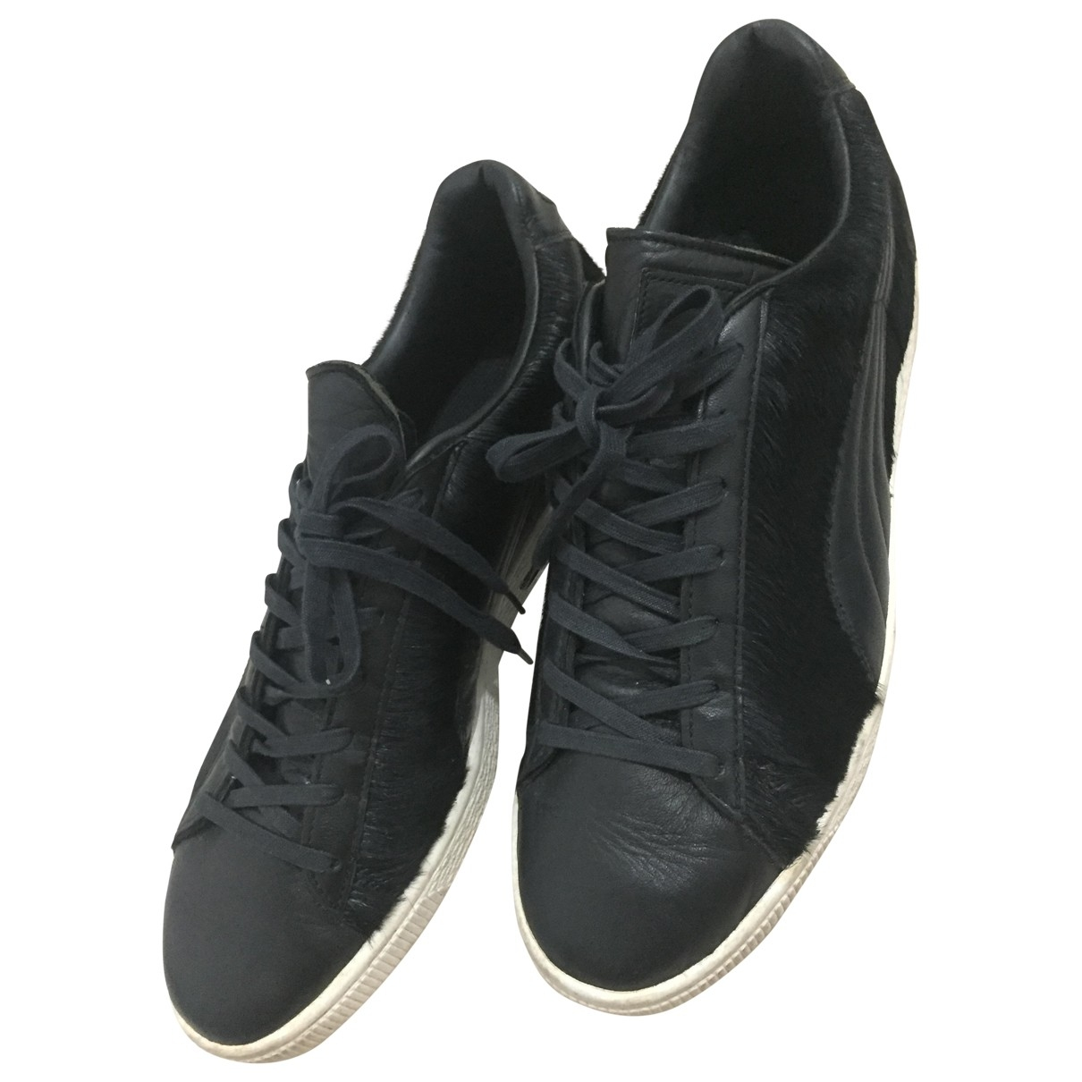 Puma \N Black Leather Trainers for Men 8 UK