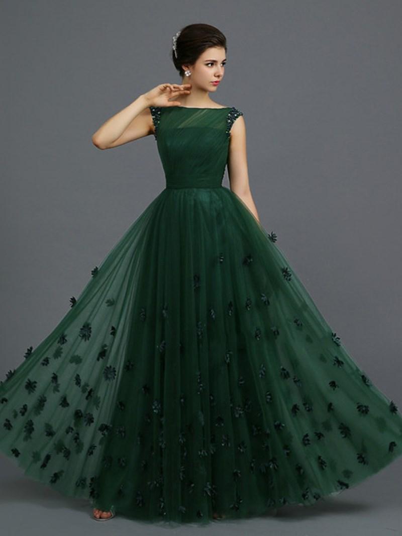 Ericdress Bateau Neck Beaded Appliques Prom Dress