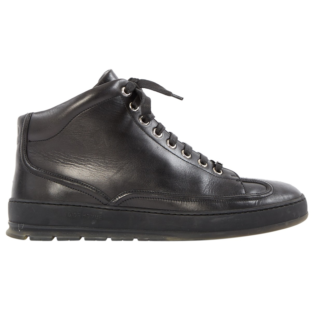 Dior \N Black Leather Trainers for Men 39.5 EU