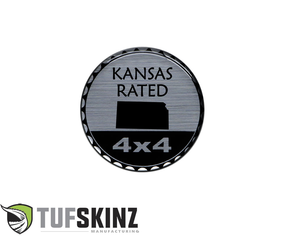 Tufskinz JEX059-DUM-108-G Rated Badge Fits Jeep 1 Piece Kit in Brushed Silver Kansas Rated