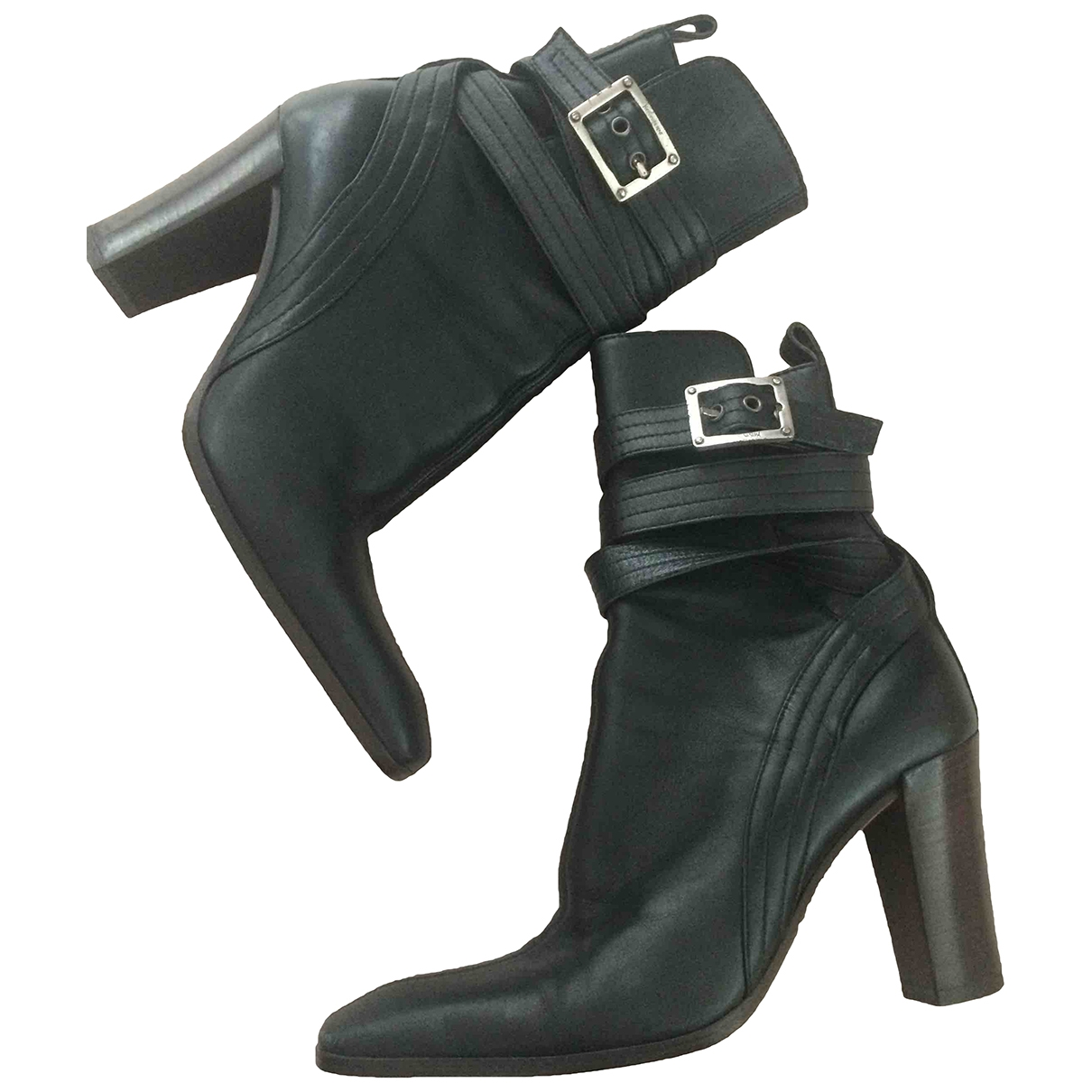 Yves Saint Laurent \N Black Leather Ankle boots for Women 36.5 EU