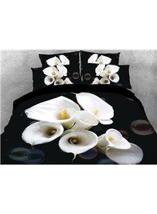 Vivilinen 3D White Flowers Printed 4-Piece Black Bedding Sets/Duvet Covers