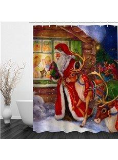 Oil Painting Christmas Night Printing Bathroom 3D Shower Curtain