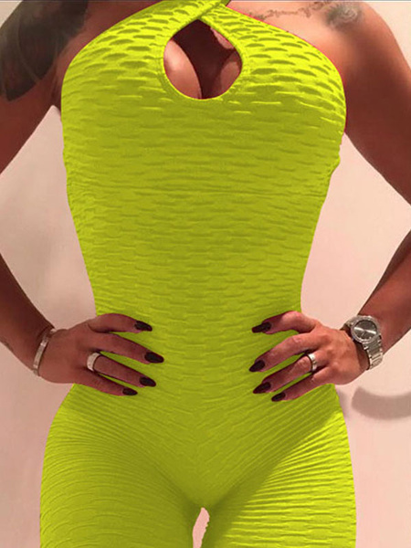 Milanoo Yoga Clothing Jumpsuit Neon Yellow Sexy Workout Clothing Stretchy Activewear