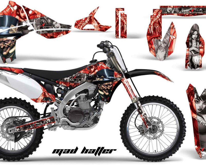 AMR Racing Dirt Bike Graphics Kit Decal Sticker Wrap For Yamaha YZ450F 2010-2013áHATTER SILVER RED
