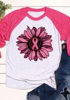 Leopard Sunflower Ribbon Breast Cancer Awareness T-Shirt Tee - Rose Red